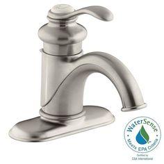 KOHLER Fairfax Single Hole Single Handle Low-Arc Water-Saving Bathroom Faucet in Vibrant Brushed Nickel