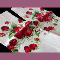 2 Wilendur Strawberry Vintage Kitchen Tea Towels