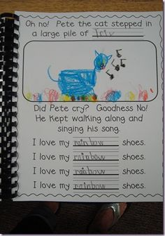 A Pete the Cat class book great way for teaching better word choice - have students write different word in each line.