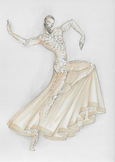 A sketch of the costume Givenchy's Riccardo Tisci designed for the Paris National Opera Ballet's production of Ravel's Bolero.