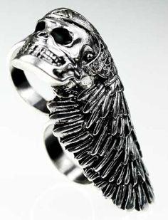 Silver Skull Helmets Style Ring  #SheInside