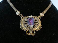 Art-Nouveau-Purple-Rhinestone-Gilt-Choker-Necklace
