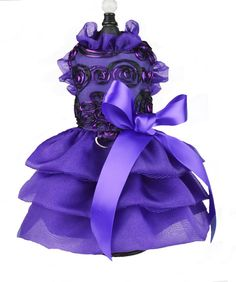 Purple Ribbon Lace and Reffled Skirt Dog Dress