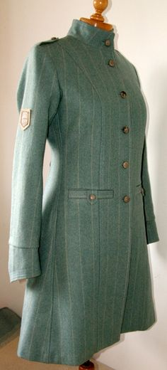 Tweed military coat in jade green, with silk lining and leather buttons Tweed Overcoat, Vintage Glamour, Jade Green, Cool Outfits, High Neck Dress, Military, Buttons, Silk, Trending Outfits