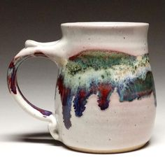 Our mug has been famous for many years for it's compact coziness and surprising volume. Made from high fire stoneware in a shape that holds in the heat, with a thumb thing for easy gripping. It holds around 12 oz. Slab Pottery, Glazes For Pottery, Pottery Mugs, Ceramic Pottery, Pottery Art, Pottery Plates, Pottery Designs, Mug Designs, Pottery Ideas