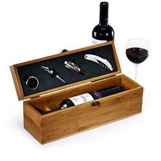 Kit para Vinho em Inox e Bambu com estojo Vêneto - 05 peças :: Cottage Decora