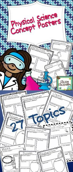 Physical Science Concept Posters 27 different topics!!  Students can use these posters to demonstrate their understanding of the various physical science concepts.  Posters are in black and white and are easy to reproduce. Students are to add visual appeal to the posters by adding color and creativity. Teachers can use these for summative or formative assessment. Use as an eye catching bulletin board!