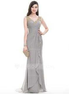 [US$ 151.99] A-Line/Princess V-neck Sweep Train Chiffon Evening Dress With Ruffle Beading Sequins