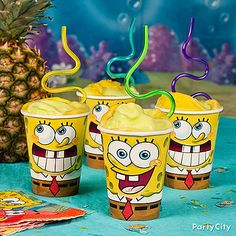 Whip up some Pineapple-Under-the-Sea Floats! For a yummy twist on party punch that's perfect for a SpongeBob birthday party, whip up these easy sippers. Click for lots more SpongeBob party ideas!
