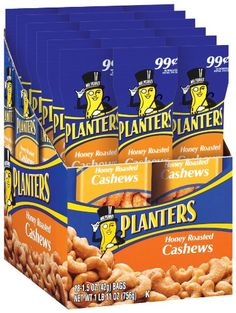 Planters Honey Roasted Cashews, 1.5-Ounce Pouches (Pack of 18)
