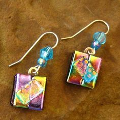 Dichroic Fused Glass Drop Earrings  Mardi Gras by GlassCat on Etsy, $22.00
