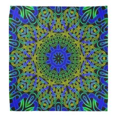 Blue green Celtic knot tile 145 Bandanna