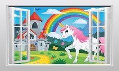 Unicorn castle and rainbow #1 3D Window Scape Graphic Art Mural Wall Sticker