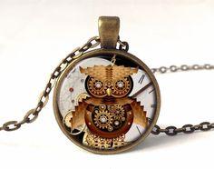 Steampunk owl necklace, 0581PB from EgginEgg by DaWanda.com