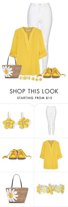 """Yellow and white"" by brenease ❤ liked on Polyvore featuring Mixit, Topshop, Bill Blass, Diane Von Furstenberg, Kate Spade and Liz Claiborne"