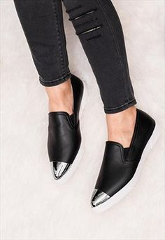 GABE Flat Metallic Pointed Toe Loafer Shoes - Black
