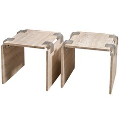 Pair of Travertine and Metal Side Tables | From a unique collection of antique and modern side tables at https://www.1stdibs.com/furniture/tables/side-tables/