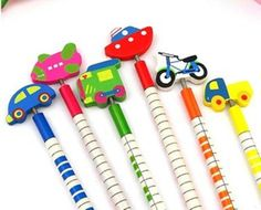 Elevenfy | 6 Kid boy Girl Birthday Gift Car Bike Truck Vehicle Tool Wooden Pencil Party Toy