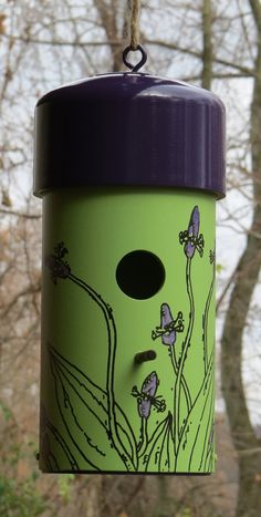Hand Painted Birdhouse Made With Pvc Each Illustrated With An Original Drawing