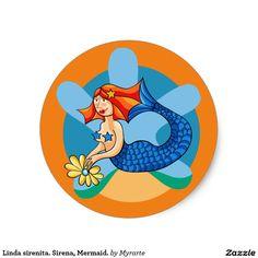 Linda sirenita. Sirena, Mermaid. Producto disponible en tienda Zazzle. Product available in Zazzle store. Regalos, Gifts. Link to product: http://www.zazzle.com/linda_sirenita_sirena_mermaid_classic_round_sticker-217569781437281047?CMPN=shareicon&lang=en&social=true&rf=238167879144476949 #sticker #sirena #mermaid