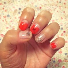 Heart french and glitters. #selfnaildesign #nailart #heartfrench #glitters #valentines