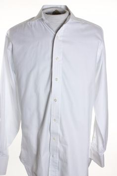Robert Talbott Bespoke Mens 15.5 x 36 Plain White Button Up LS Dress Shirt #RobertTalbott #ButtonFront