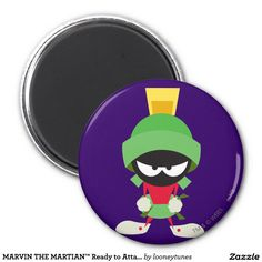 Looney Tunes - MARVIN THE MARTIAN™ Ready to Attack 2 Inch Round Magnet, home decor, decoración. Producto disponible en tienda Zazzle. Product available in Zazzle store. Regalos, Gifts. Link to product: http://www.zazzle.com/marvin_the_martian_ready_to_attack_2_inch_round_magnet-147594018709272859?design.areas=[round_magnet_225_front]&CMPN=shareicon&lang=en&social=true&rf=238167879144476949 #LooneyTunes #imanes #magnets