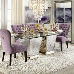 What the In-Crowd Won't Tell You About Contemporary Dining Room Ideas to Inspire You Chairs could possibly be rated by the duration of time they might. Dining Room Table Decor, Elegant Dining Room, Luxury Dining Room, Dining Room Sets, Dining Room Design, Dining Room Furniture, Purple Dining Chairs, Glass Dinning Table, Elegant Home Decor