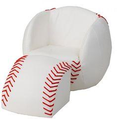 Baseball SET Seat Chair and Ottoman Furniture Living Room Toddler Kids Baby New  #BaseballSETSeat