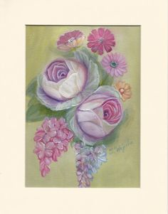 Roses and Lilacs Art Acrylic Original Painting on Ivory