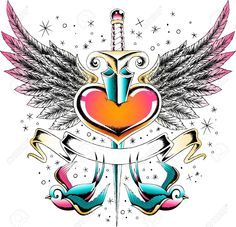 Vintage Heart And Swallow Ribbon Banner Royalty Free Cliparts . Tatoo Heart, Heart With Wings Tattoo, Heart Tattoos, Bird Tattoos, Dope Tattoos, Tattos, Sewing Machine Drawing, Facebook Featured Photos, Broken Heart Drawings