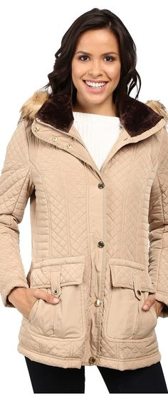 Jessica Simpson Quilted Anorak w/ Removable Hood and Faux Fur (Khaki) Women's Coat - Jessica Simpson, Quilted Anorak w/ Removable Hood and Faux Fur, JOHMP575-254, Apparel Top Coat, Coat, Top, Apparel, Clothes Clothing, Gift - Outfit Ideas And Street Style 2017