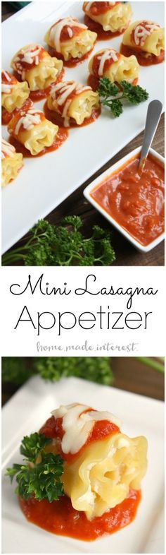 These mini lasagna bites are a lasagna rollup recipe made into bite size appetizers. It's an easy holiday appetizer or just a fun lunch for the kids.