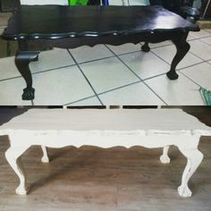This ball and claw coffee table is now ready to be the talking point at any tea party. With antique white chalk paint and some choice distressing it's ready to hold it's own! Diy Furniture Decor, Upholstered Furniture, Upcycled Furniture, Vintage Furniture, Painted Furniture, Painted Wood, Antique Couch, Antique Coffee Tables, Painted Coffee Tables