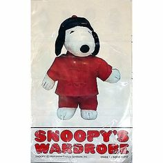 Chinese Outfit Snoopy Wardrobe Vintage 1971 Pants Shirt Red Hat m156