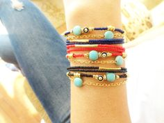 Evil eye bracelet turquoise and blue beads ethnic by Handemadeit, $18.90