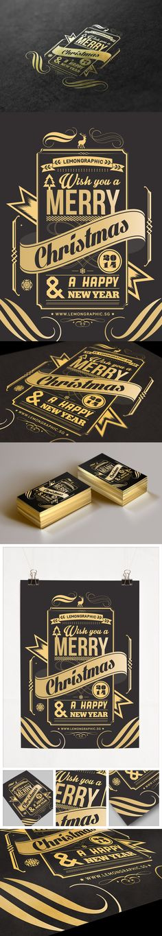 Merry Christmas and Happy New Year card design ideas. Black with gold foiling and it looks business card size.