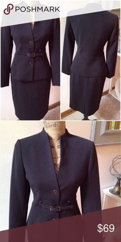"""💕 Gorgeous Calvin Klein Suit This gorgeous suit is the perfect addition to your wardrobe. Suit coat is fully lined, has a 3 button closure, and an adjustable belt at the waist. Skirt is fully lined, has a zip up the back and is in excellent like new condition. 62% polyester, 35% rayon 3% spandex. Lining is 100% polyester. Jacket measurements are, bust: 34"""" sleeve inseam: 18""""  skirt measurements are: waist: 28"""" length: 23 1/2"""" Calvin Klein Dresses"""