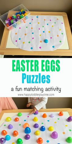Easter Egg Puzzle - HAPPY TODDLER PLAYTIME - - Easter egg puzzle is a simple colour sorting activity that makes a great activity for toddlers and preschooler to practice their colours this Easter! Toddler Learning Activities, Sorting Activities, Easter Activities For Preschool, Children Activities, Easter Crafts For Toddlers, Toddler Crafts, April Preschool, Toddler Fun, Easter Eggs