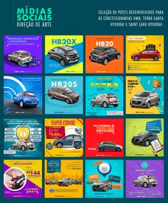 Seleção de posts para as redes sociais das concessionárias HMB, Saint Land Hyundai e Terra Santa Hyundai.