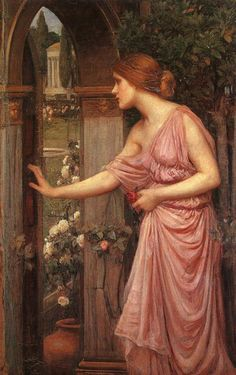 Page: Psyche entering Cupid's Garden Artist: John William Waterhouse Completion Date: 1903 Style: Romanticism Genre: mythological painting John William Waterhouse, Renaissance Kunst, Illustration Art, Illustrations, Foto Art, Classical Art, Beautiful Paintings, Romantic Paintings, Les Oeuvres