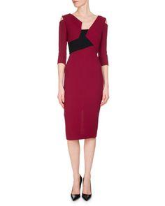 Kiverton+Colorblock+Cold-Shoulder+Sheath+Dress,+Red/Black+by+Roland+Mouret+at+Neiman+Marcus.