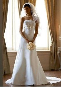 David's Bridal Wedding Dress Satin Trumpet Gown with Beaded Metallic Lace Style. Doesn't cost a fortune and does the job !