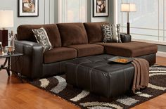 Cumulus Brown Chocolate Two-toned Sectional Sofa Chaise and Ottoman Set, Made In USA - Contemporary sectional couch and ottoman set Brown Microfiber material with hardwood frame. Panel stitching for added style and visual interest, Comfortable high-density foam padding. Perfect for contemporary living rooms.