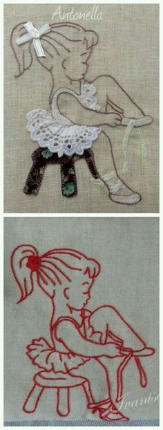 embroidery redwork with and without a bit of applique. Hand Embroidery Patterns, Vintage Embroidery, Embroidery Art, Embroidery Applique, Cross Stitch Embroidery, Quilt Patterns, Machine Embroidery, Sewing Patterns, Sewing Crafts