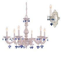 Blue Crystal Shabby Chandelier and Sconces