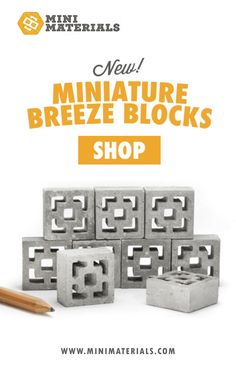 """TheseMid-Century Modern style breeze blocks are a call back to the 50s & 60s. This decorative concrete blockmakes the perfect accompaniment to 1:12 scale dollhouses, fairy gardens, or fingerboard parks. Each one measures 1"""" x 1"""" x .5"""""""