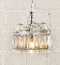 Old Glass Jelly Mould Light