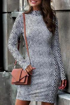 Women's Stand Collar Long-Sleeve Slim Bottoming Dress #bodycondress #bodycondressformal #bodycondresscasual #bodycondressoutfit