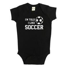 Rocket Bug I'm Told I Like Soccer Baby Bodysuit